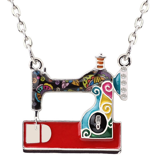 Enamel Sewing Machine Pendant Necklace