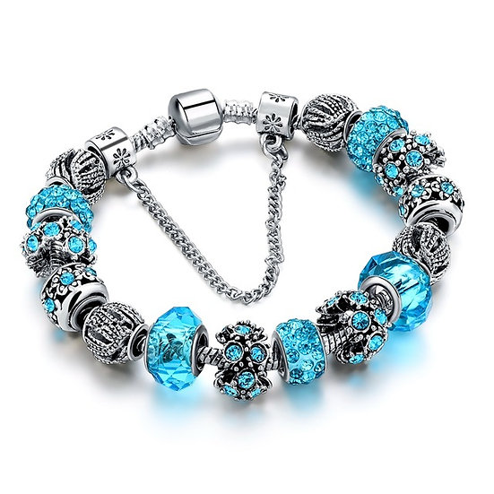 European Style Tibetan Silver Crystal Charm Bracelets for Women