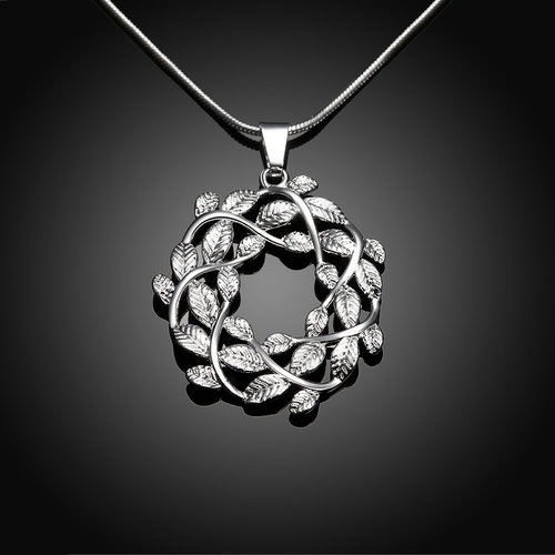 Circle Leaf Pendant-Silver Plated & Necklace
