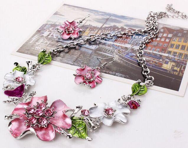 Elakaka Sweet Temperament Wild Flowers Necklace Set