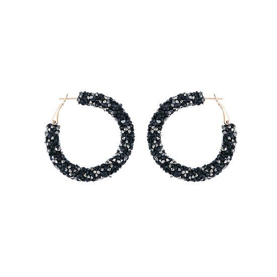 Crushed Black Hematite Crystals Hoop Earrings