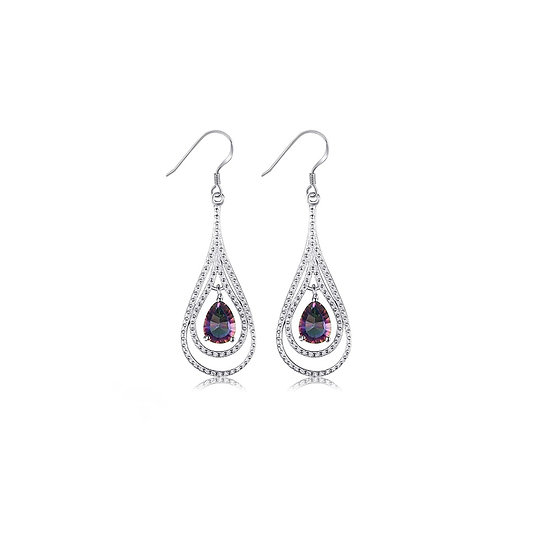 Natural Fire Rainbow Mystic Topaz Drop Earrings