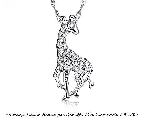925 Sterling Silver Beautiful Giraffe Pendant