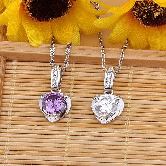 Heart Shaped Purple or White CZ Pendant