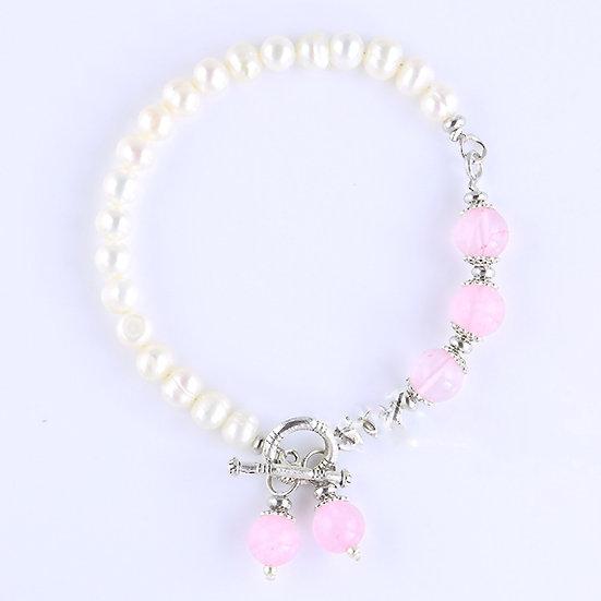 Cultured Freshwater Pearl  & Semi Precious Stone Toggle Bracelet