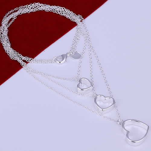 3 in 1 Heart Necklace- 925 Sterling Silver Plated - 18""