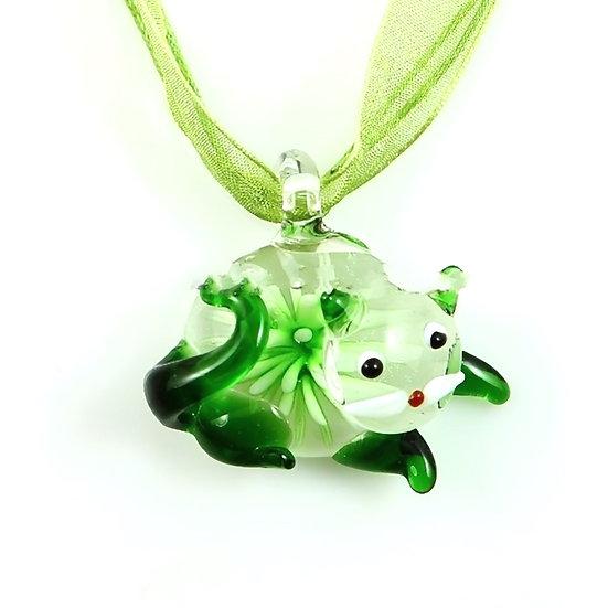 Cat Murano Glass Necklaces Pendants Flowers Inside Lampwork