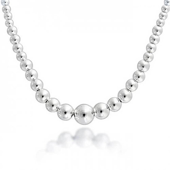 925 Sterling Silver Graduated Bead Necklace