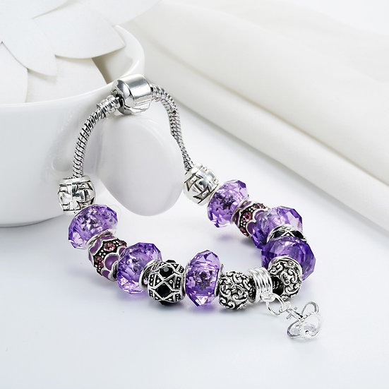 Purple Glass Beads Crown Pendant