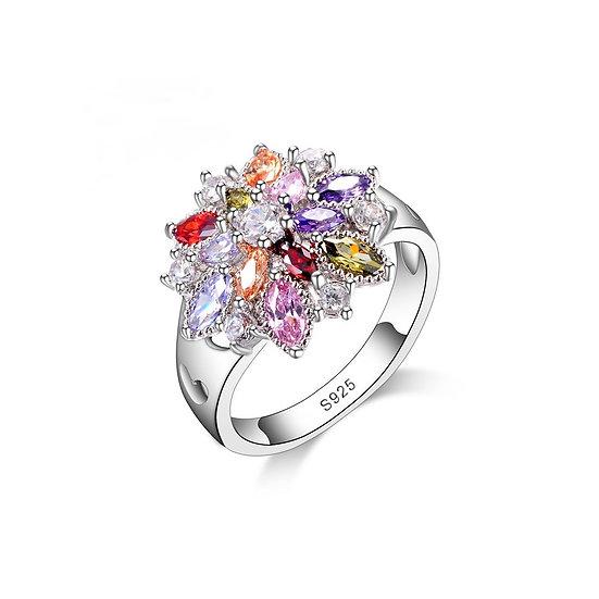 Sterling Silver Crystal Cluster Flower Ring