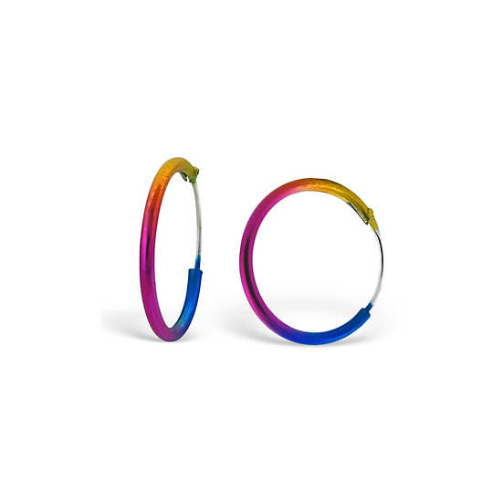 Colorful 16mm Sterling Silver Ear Hoops