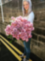 Louise Ford holding a big bunch of 'Memory Lane' Roses