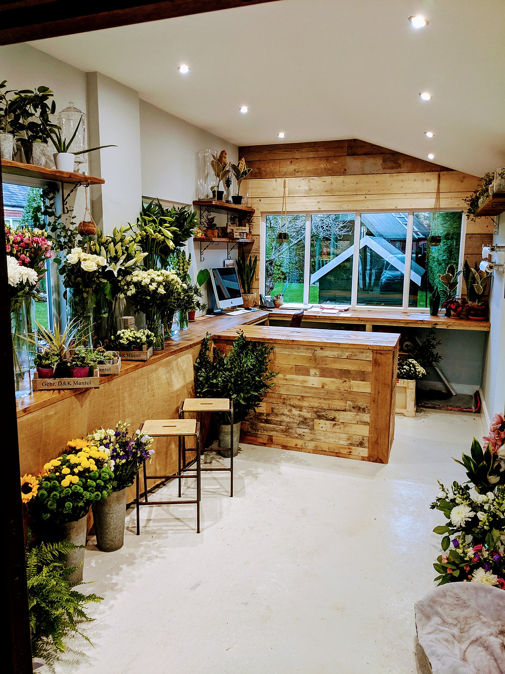 Flower studio with wood panelling, botanical shelving and vases of flowers