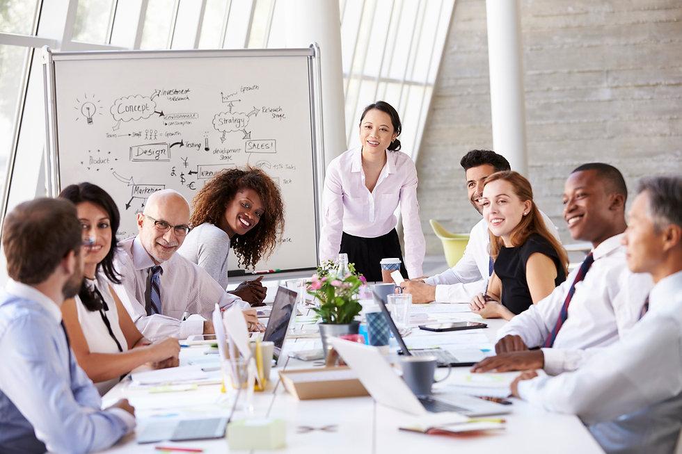 Friendly diverse working team