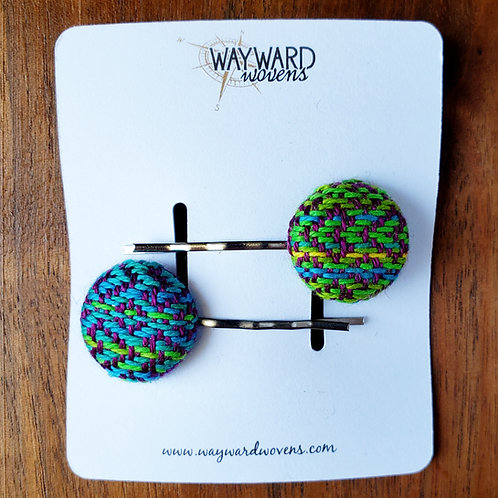Handwoven button hair clips