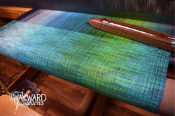 Woven cloth, blue/green weft