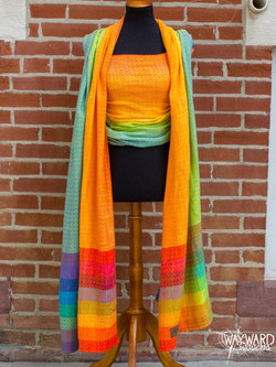 Yellow Tencel weft with rainbow tail acc