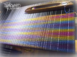 Rainbow weft, on the loom