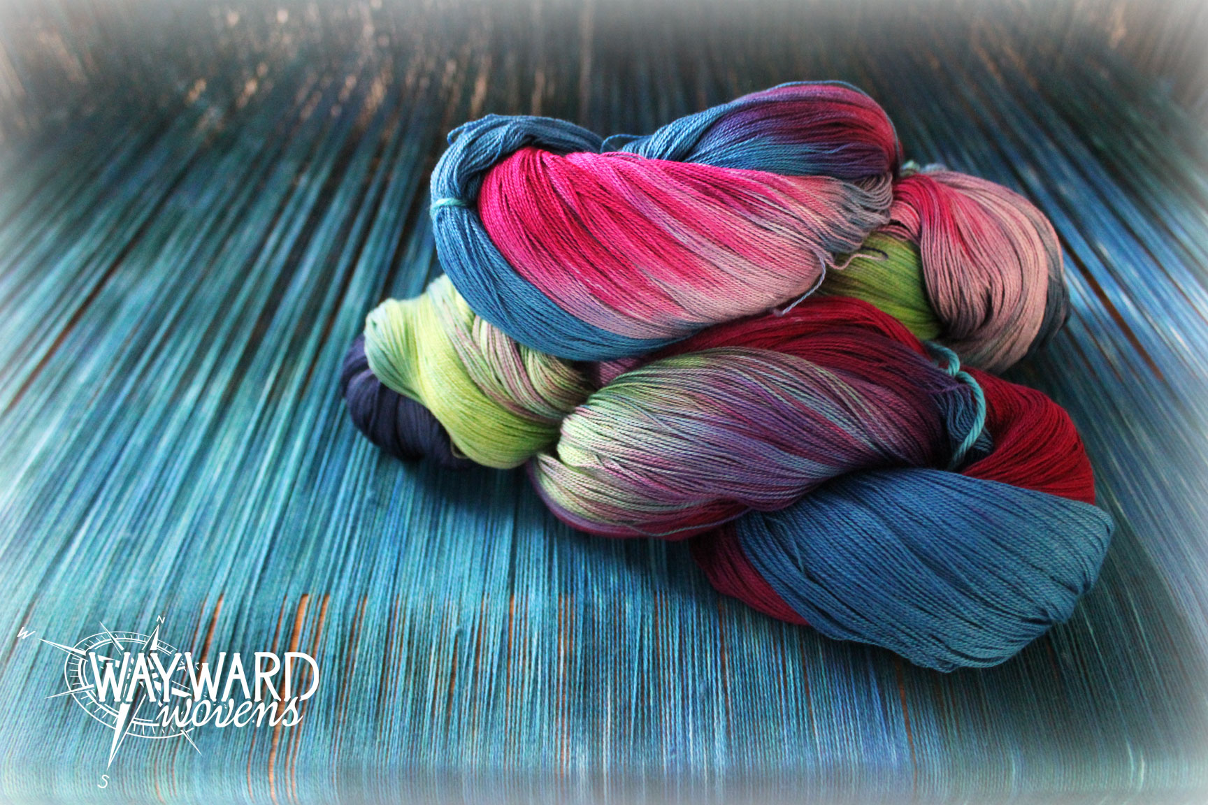 Warp threads with hand dyed skein