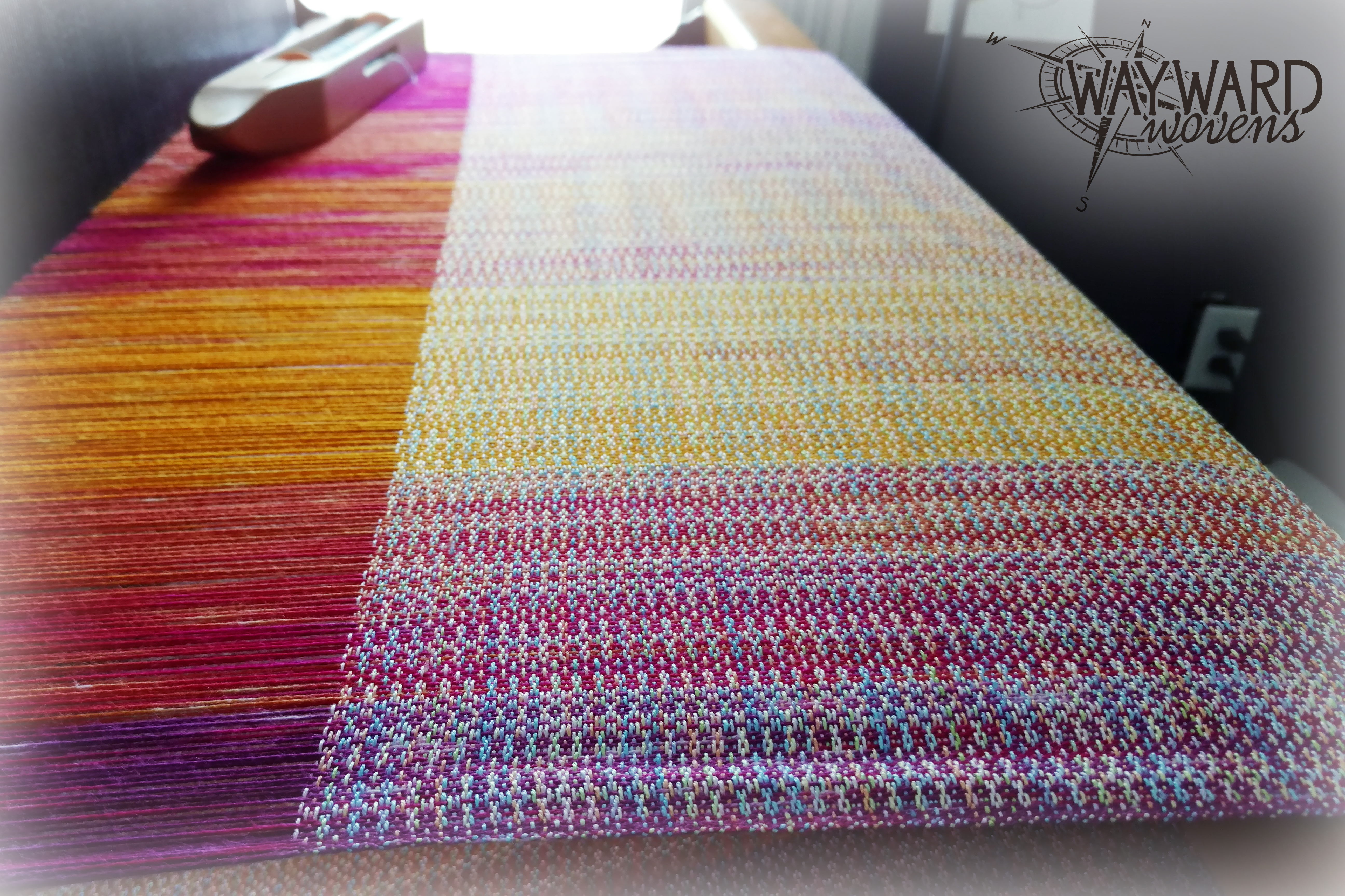 Pastel silk weft, on the loom
