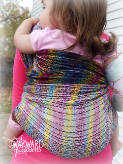 Rainbow weft, back carry, rear view