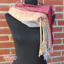 Camel silk weft cowl with twisted fringe