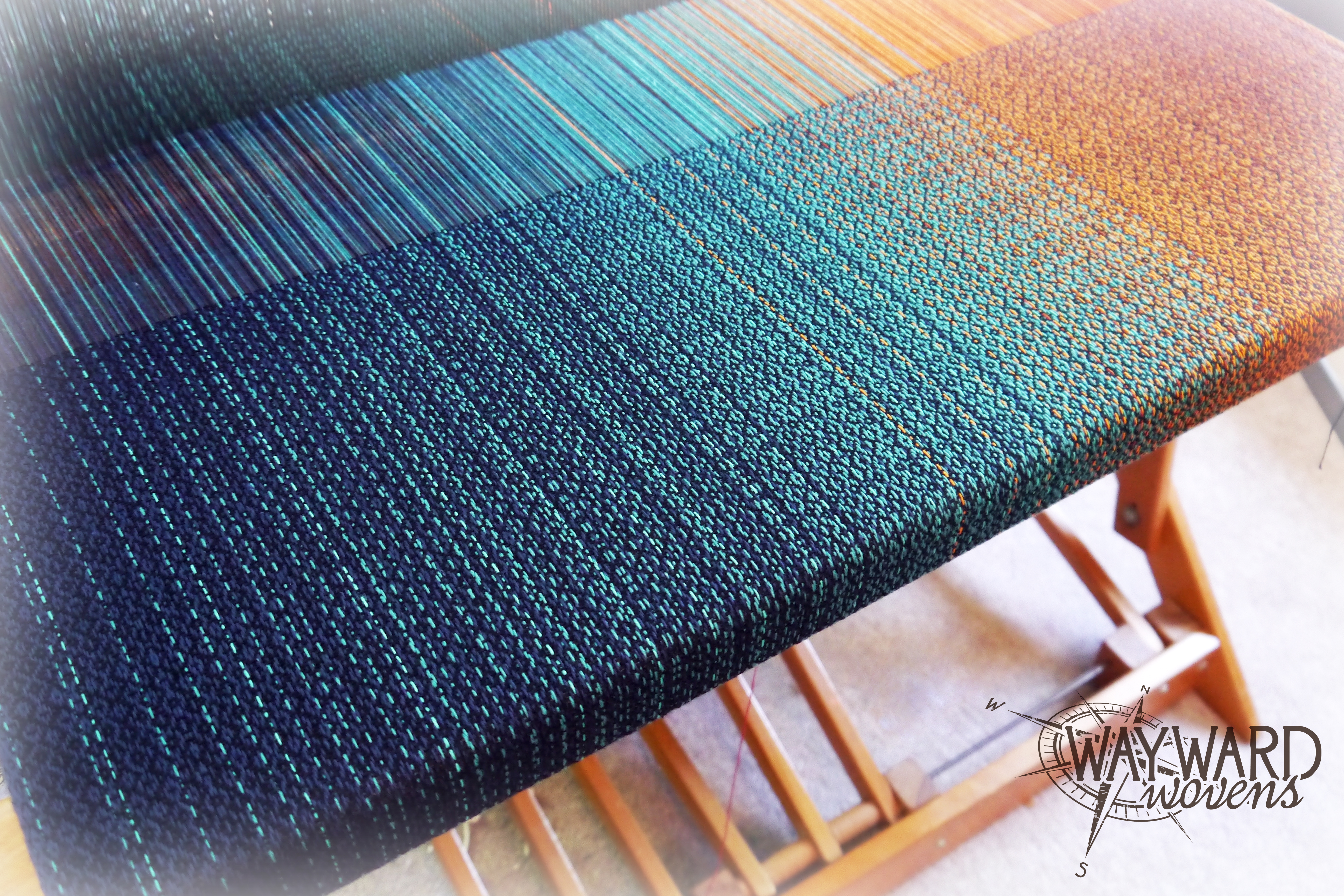 Bamboo weft, on the loom