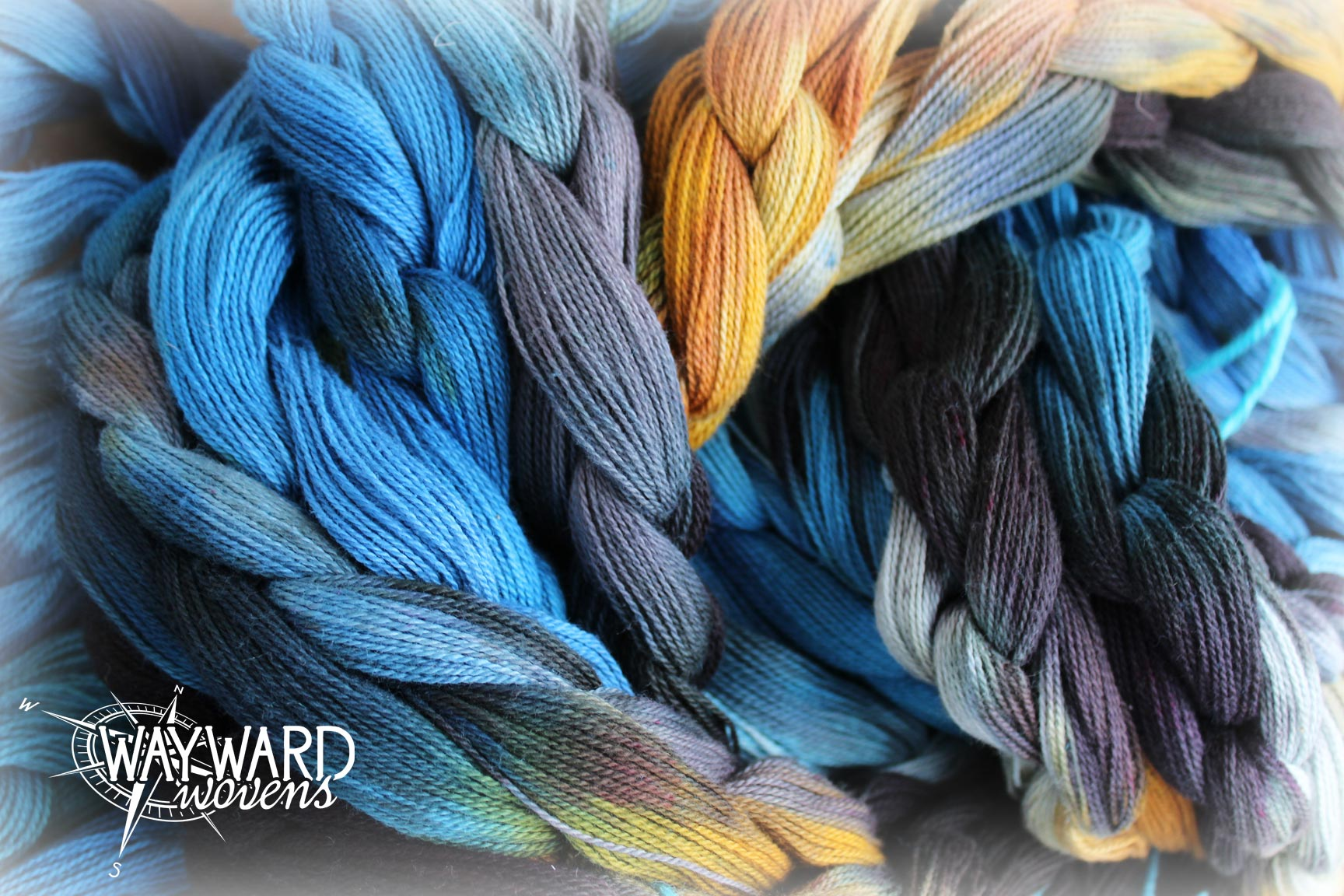 Hand dyed warp chains