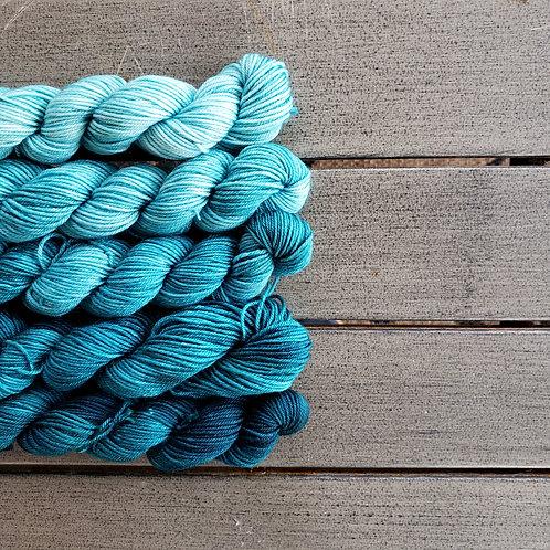Kingfisher Blue Fade - set of 5 mini sock weight superwash wool skeins