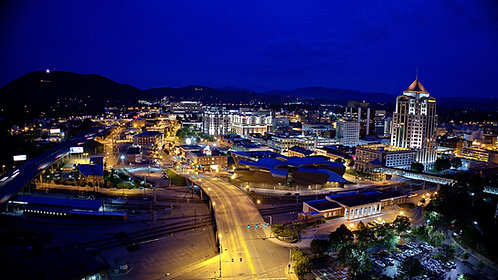 Roanoke City Aerial Night Photos