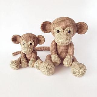 crochet amigurumi monkey joungle animal pattern bundle