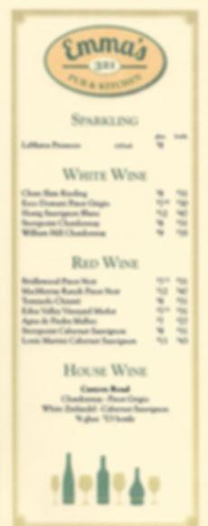 Emma's 321 Pub & Kitchen Wine List