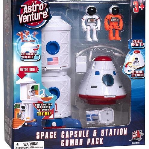 סט קפסולת חלל עם אסטרונאוטים ואור