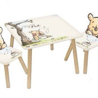 שולחן עץ+שני כיסאות של פו הדוב
