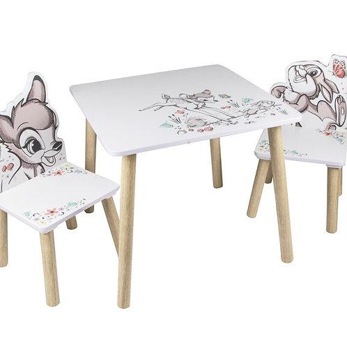 שולחן עץ+שני כיסאות של במבי