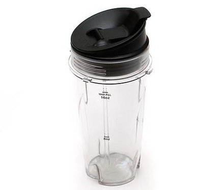 Ninja Bullet 2-in-1QB3000 Medium Cup Replacement + Travel Lid  : 16 oz