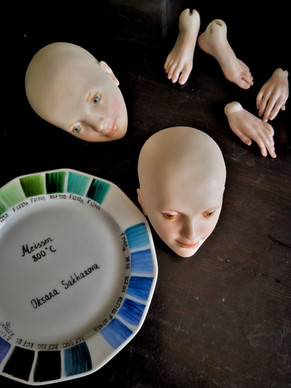 роспись куклы надглазурными красками
