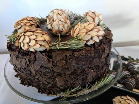 Decadent Chocolate Cake with Homemade Pinecones