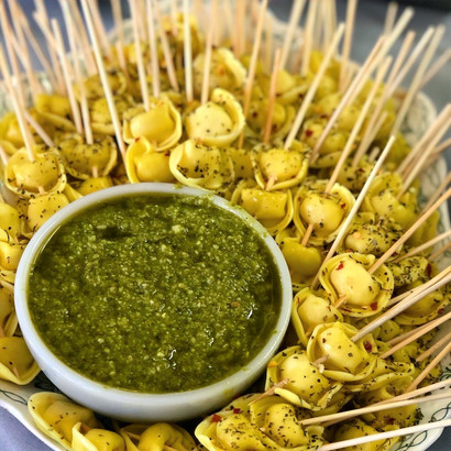 Tortellini Skewers with Pesto Dipping Sauce