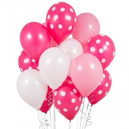 Pink Polka Dot Latex Party Balloons - 14 Pack