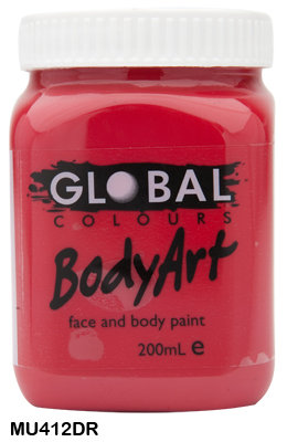 GLOBAL COLOURS DEEP RED FACE PAINT 200ML