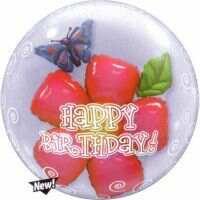 61CM HAPPY BIRTHDAY FLOWER DOUBLE BUBBLE BALLOON