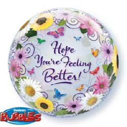 56CM HOPE YOUR FEELING BETTER FLOWER BUBBLE BALLOON