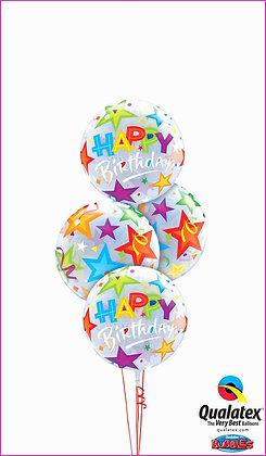 HAPPY BIRTHDAY STAR BUBBLE BALLOON BOUQUET