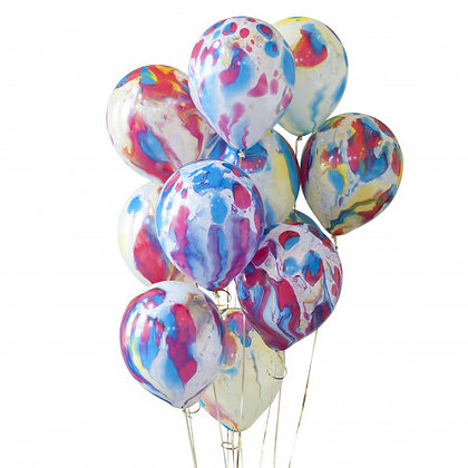 Rainbow Marble Latex Party Balloons - 14 Pack