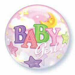 56CM BABY GIRL BUBBLE BALLOON MOON & STARS
