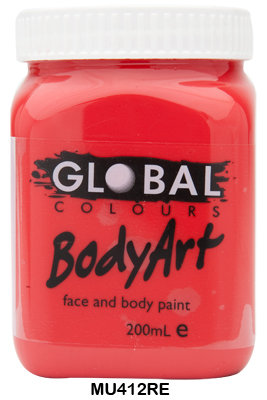 GLOBAL COLOURS BRILLIANT RED FACE PAINT 200ML