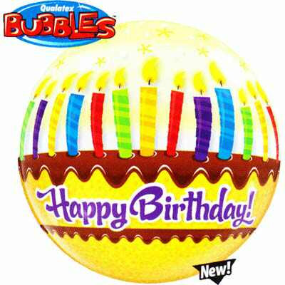56CM BIRTHDAY CANDLES & FROSTING BUBBLE BALLOON
