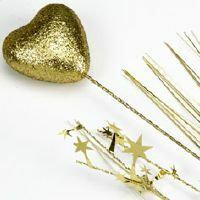 SPANGLES FOAM HEART SPRAY - GOLD