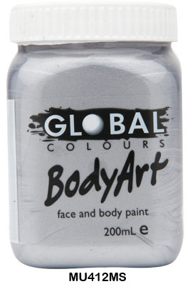 GLOBAL COLOURS METALLIC SILVER FACE PAINT 200ML